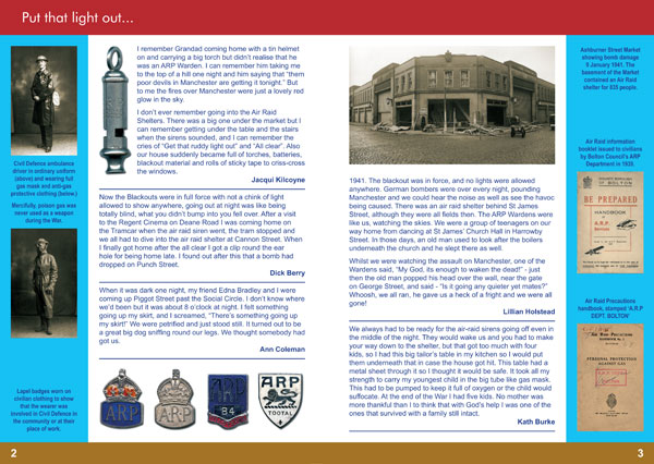 A5 Bolton Remembers the War booklet spread