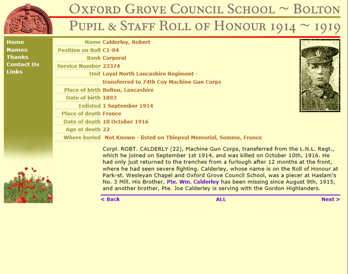 Oxford Grove Roll of Honour